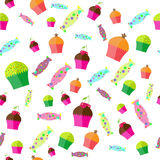 The pattern with candies and muffins Stock Photography