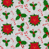 Pattern with candy holly poinsettia Royalty Free Stock Images