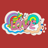 Pattern candy, lollipop, berries, text and ghosts. Pure love. Do Stock Photo