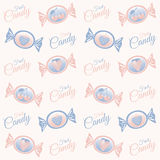 Pattern with candy in two colors. Vector pattern with candies in two colors light blue and pink Stock Photo