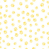 A pattern of canine tracks of different sizes. The dog tracks are yellow on a white background. Vector illustration in a flat styl vector illustration