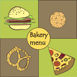 Pattern  card with baking fast food Royalty Free Stock Photos