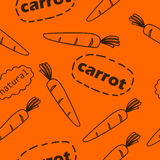 Pattern with carrots. Seamless pattern with carrots and inscriptions Carrot and Natural Royalty Free Stock Photo