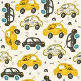 Pattern with cars. Hand drawn autos on the road. Scandinavian style design. Decorative abstract art. Textile or fabric design vector illustration