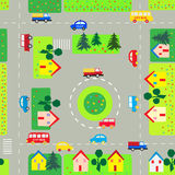 Pattern with cars and streets. Seamless background with cars and streets stock illustration