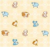 Pattern with cartoon animals Stock Photos