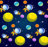 Pattern with cartoon astronaut Royalty Free Stock Image