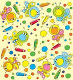Pattern Cartoon butterfly and pencils Royalty Free Stock Photos