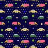 Pattern_cartoon-car_vector_dark Royalty-vrije Stock Fotografie