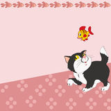 Pattern with cartoon cat and fish. The illustration shows the pattern with cartoon cat and a fish on a pink background. There is a place for text, on separate Stock Photo