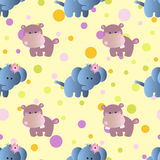 Pattern with cartoon cute baby behemoth, elephant Stock Photo