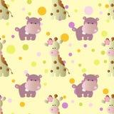 Pattern with cartoon cute baby behemoth, giraffe Royalty Free Stock Photo