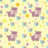 Pattern with cartoon cute toy baby behemoth, bird Stock Images