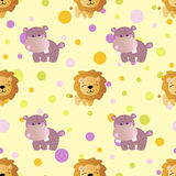 Pattern with cartoon cute toy baby behemoth, lion. Seamless pattern with cartoon cute toy baby behemoth, lion and Circles on a light yellow background Stock Images
