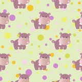 Pattern with cartoon cute toy baby behemoth Royalty Free Stock Photography