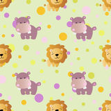 Pattern with cartoon cute toy baby behemoth Stock Image