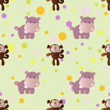 Pattern with cartoon cute toy baby behemoth Stock Images