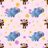 Pattern with cartoon cute toy baby elephant. Seamless pattern with cartoon cute toy baby elephant, monkey and Circles on a light pink background Stock Images