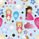 Pattern with cartoon cute toy baby girl and bunny Stock Photos