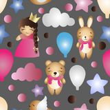 Pattern with cartoon cute toy baby girl and bunny Royalty Free Stock Images