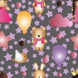 Pattern with cartoon cute toy baby girl and bunny Stock Image