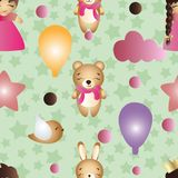 Pattern with cartoon cute toy baby girl and bunny Stock Photography