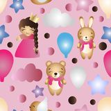 Pattern with cartoon cute toy baby girl and bunny. Seamless pattern with a cartoon cute toy baby girl, bunny, stars, clouds, bear and balloons on a pink Royalty Free Stock Images