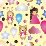 Pattern with cartoon cute toy baby girl and bunny Stock Photo