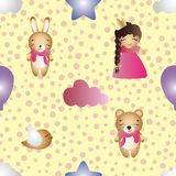 Pattern with cartoon cute toy baby girl and bunny Royalty Free Stock Photography