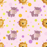 Pattern with cartoon cute toy baby hippo. Seamless pattern with cartoon cute toy baby behemoth, lion and Circles on a light pink background Royalty Free Stock Images