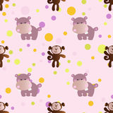Pattern with cartoon cute toy baby hippo. Seamless pattern with cartoon cute toy baby behemoth, monkey and Circles on a light pink background Stock Photos