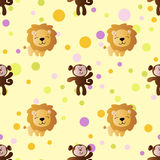 Pattern with cartoon cute toy baby monkey and lion. Seamless pattern with cartoon cute toy baby monkey, lion and Circles on a light yellow background Royalty Free Stock Photography