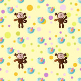 Pattern with cartoon cute toy baby monkey. Seamless pattern with cartoon cute toy baby monkey, bird and Circles on a light yellow background Royalty Free Stock Image