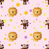 Pattern with cartoon cute toy baby monkey. Seamless pattern with cartoon cute toy baby monkey, lion and Circles on a light pink background Royalty Free Stock Photo