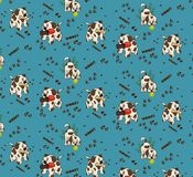 Pattern of cartoon dogs play the ball and sneakers Royalty Free Stock Photo
