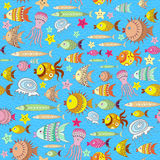Pattern with cartoon fish Royalty Free Stock Photo