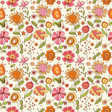 Pattern with cartoon flowers Royalty Free Stock Photo