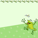 Pattern with cartoon frog. The illustration shows the pattern with cartoon frog that catches a dragonfly on a green background. There is a place for text, on Royalty Free Stock Photo