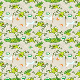 Pattern with cartoon frogs Stock Photography