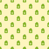 Pattern with cartoon houses stock illustration