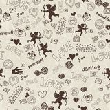 Pattern with cartoon love icons Royalty Free Stock Images