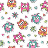 Pattern with cartoon owls Royalty Free Stock Photography