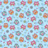 Pattern of cartoon owls Stock Image