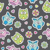 Pattern of cartoon owls Royalty Free Stock Image