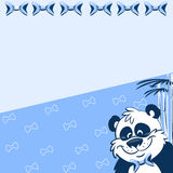 Pattern with cartoon panda. The illustration shows the pattern with cartoon panda and bamboo on a blue background. There is a place for text, on separate layers Royalty Free Stock Images