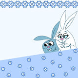 Pattern with cartoon rabbits Stock Photography