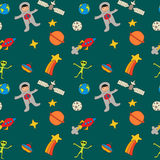 Pattern of cartoon space characters. And objects Stock Image