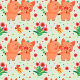 Vector seamless pattern with Valentine`s Day elements and pigs in love. Pattern in cartoon style. Vector seamless pattern with Valentine`s Day elements and pigs royalty free illustration
