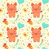 Pattern in cartoon style. Vector seamless pattern with Valentine`s Day elements and piglet. For textiles, fabrics, souvenirs, packaging and greeting cards stock illustration