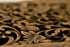 Pattern carved on wood Stock Photography